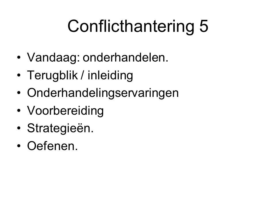 Conflicthantering 5 Vandaag: onderhandelen. Terugblik / inleiding