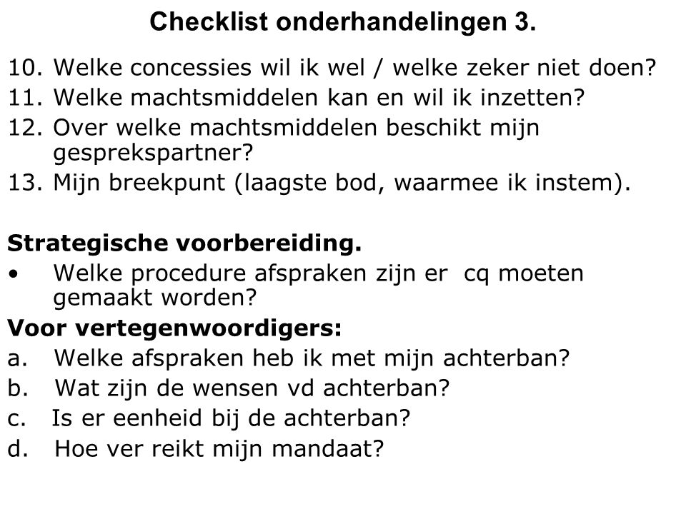 Checklist onderhandelingen 3.