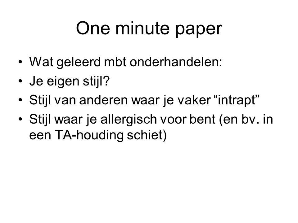 One minute paper Wat geleerd mbt onderhandelen: Je eigen stijl