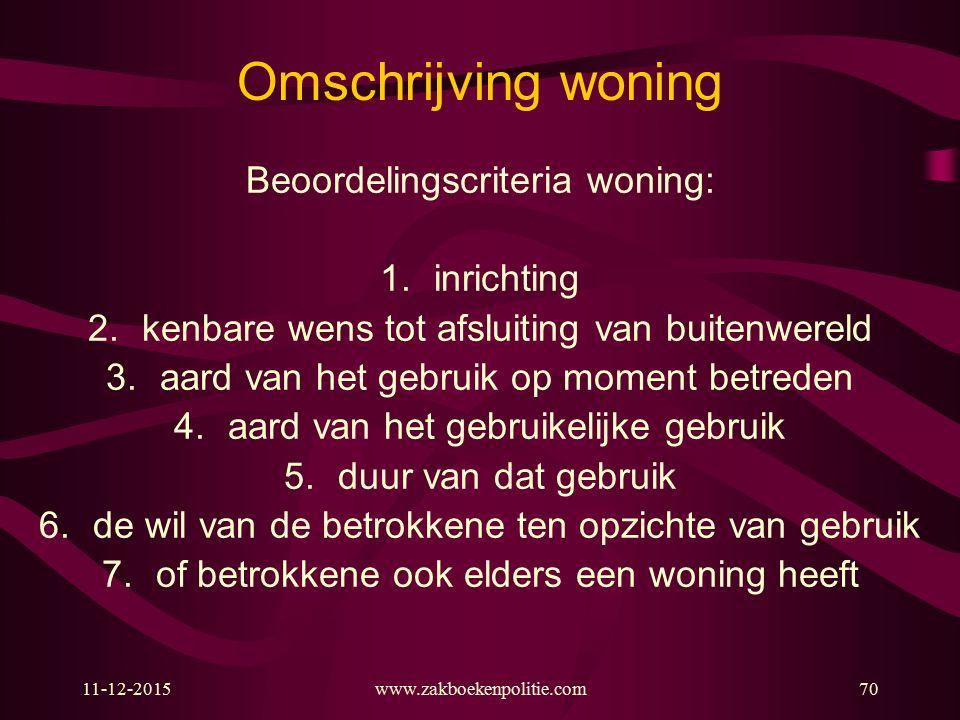 Omschrijving woning Beoordelingscriteria woning: inrichting