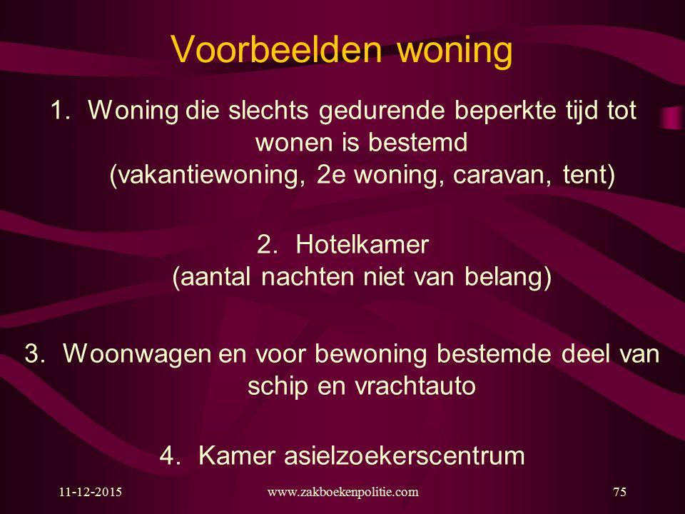Voorbeelden woning Woning die slechts gedurende beperkte tijd tot wonen is bestemd (vakantiewoning, 2e woning, caravan, tent)