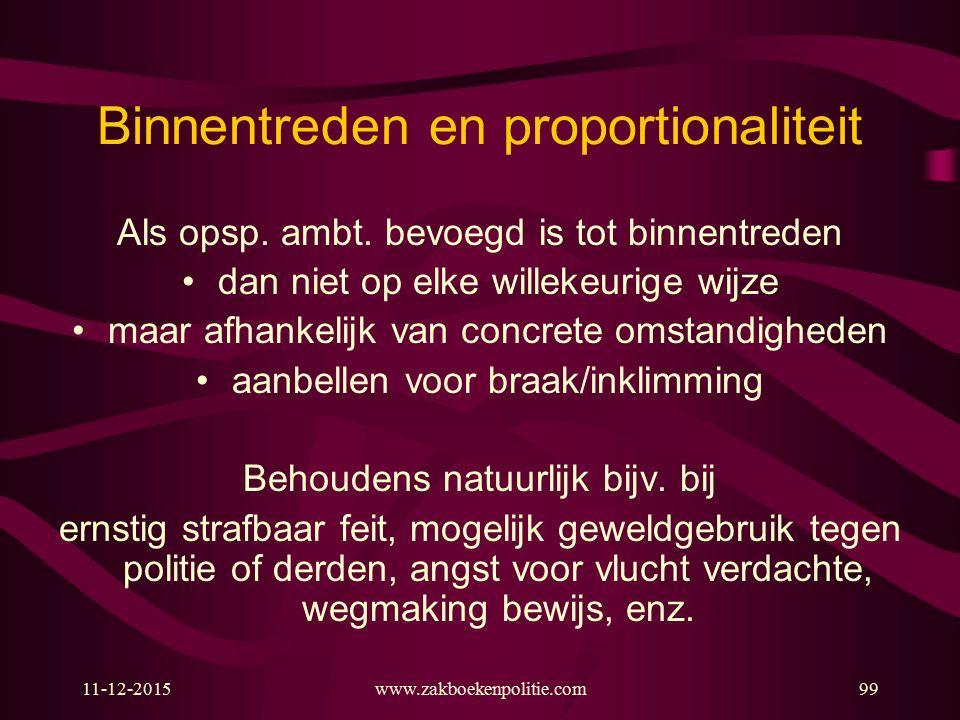 Binnentreden en proportionaliteit