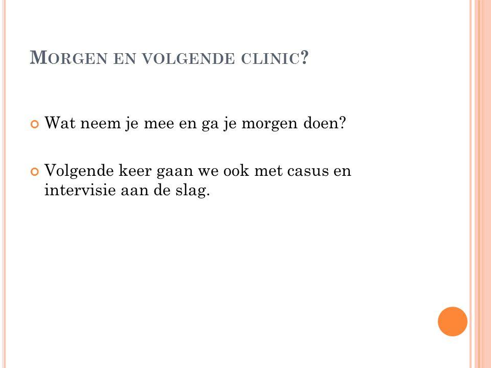 Morgen en volgende clinic