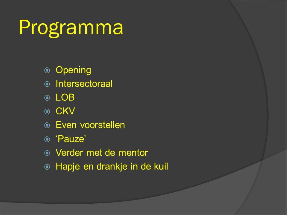 Programma Opening Intersectoraal LOB CKV Even voorstellen 'Pauze'