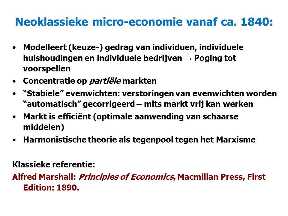 Neoklassieke micro-economie vanaf ca. 1840: