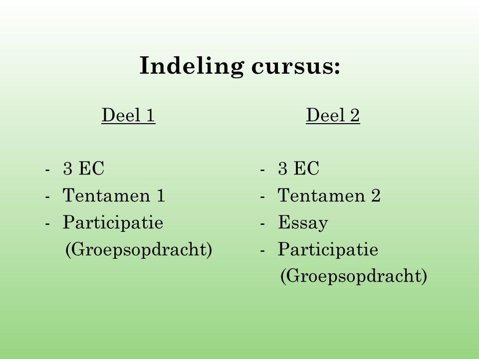 Indeling cursus: Deel 1 3 EC Tentamen 1 Participatie (Groepsopdracht)