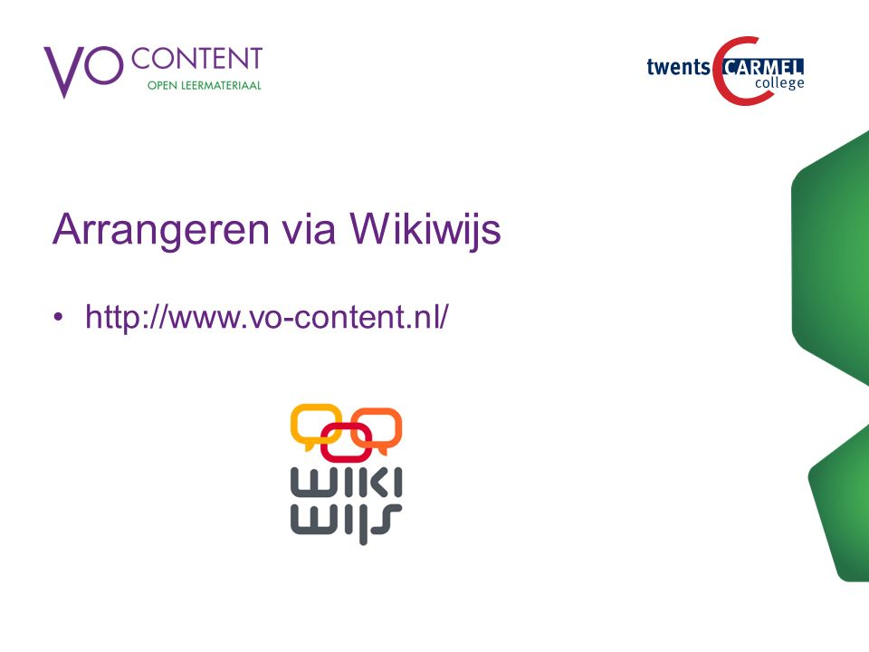 Arrangeren via Wikiwijs
