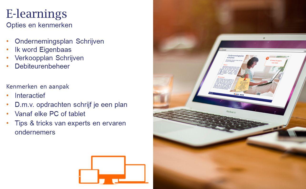 E-learnings Opties en kenmerken Ondernemingsplan Schrijven