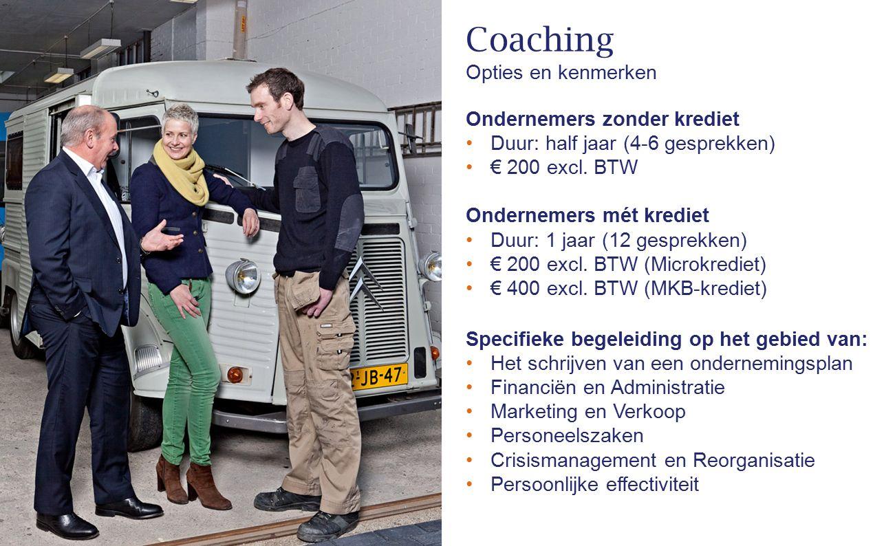 Coaching Opties en kenmerken Ondernemers zonder krediet