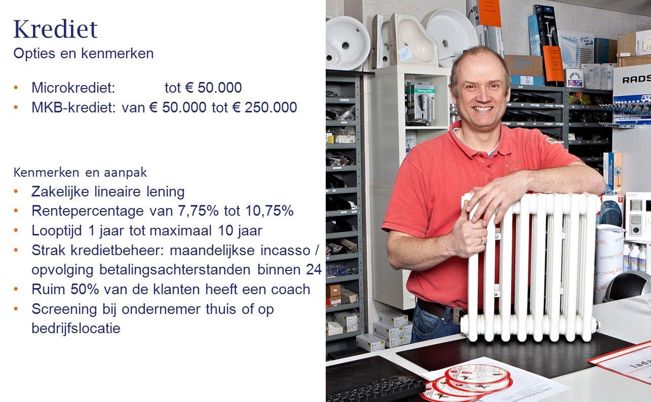 Krediet Opties en kenmerken Microkrediet: tot € 50.000