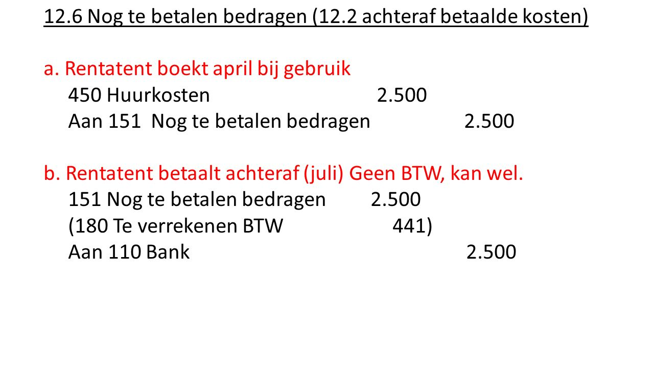 12.6 Nog te betalen bedragen (12.2 achteraf betaalde kosten)