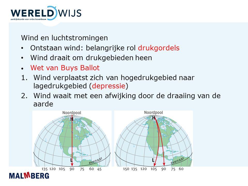Wind en luchtstromingen Ontstaan wind: belangrijke rol drukgordels