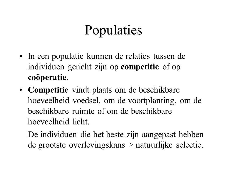 Populaties In een populatie kunnen de relaties tussen de individuen gericht zijn op competitie of op coöperatie.