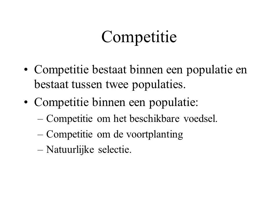 Competitie Competitie bestaat binnen een populatie en bestaat tussen twee populaties. Competitie binnen een populatie: