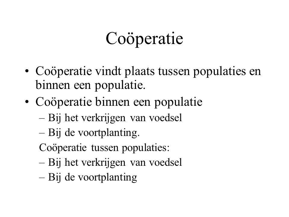 Coöperatie Coöperatie vindt plaats tussen populaties en binnen een populatie. Coöperatie binnen een populatie.