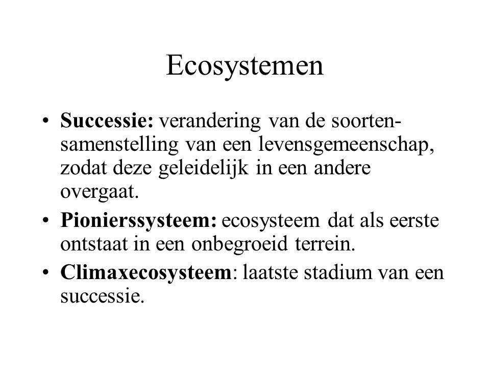 Ecosystemen Successie: verandering van de soorten-samenstelling van een levensgemeenschap, zodat deze geleidelijk in een andere overgaat.
