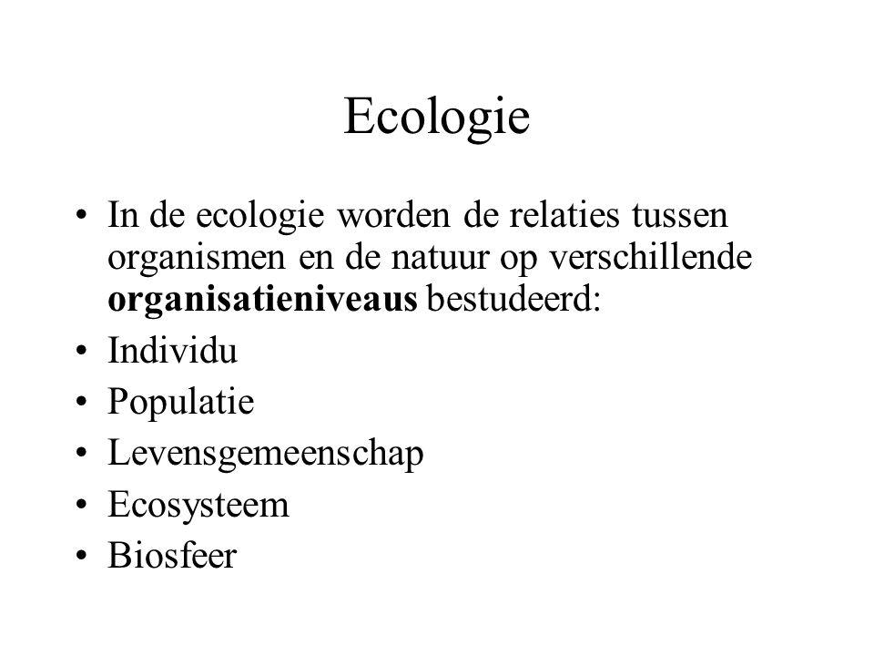Ecologie In de ecologie worden de relaties tussen organismen en de natuur op verschillende organisatieniveaus bestudeerd: