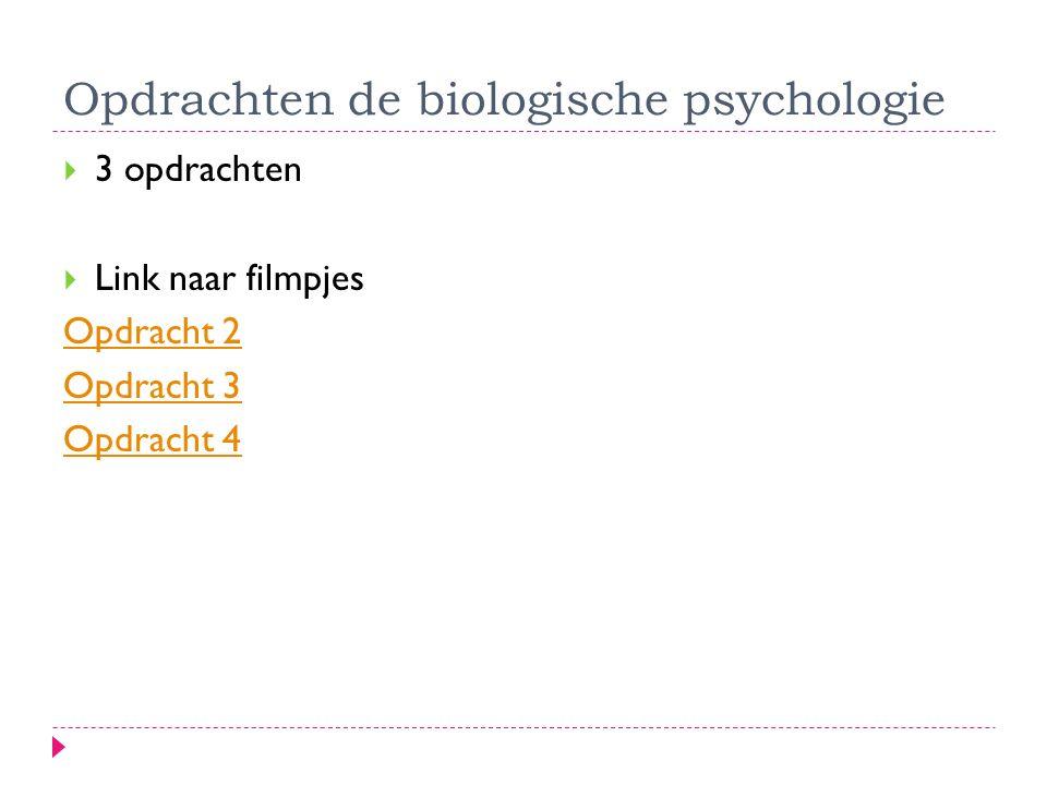 Opdrachten de biologische psychologie