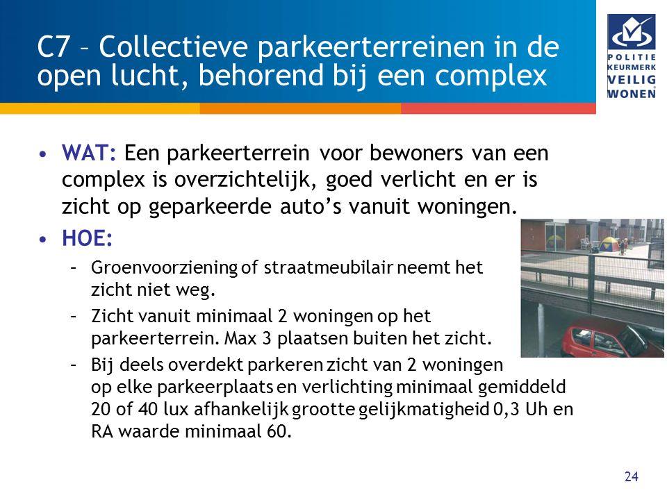 C7 – Collectieve parkeerterreinen in de open lucht, behorend bij een complex
