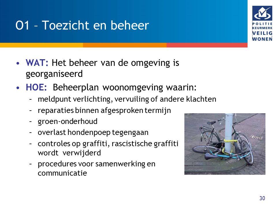 O1 – Toezicht en beheer WAT: Het beheer van de omgeving is georganiseerd. HOE: Beheerplan woonomgeving waarin: