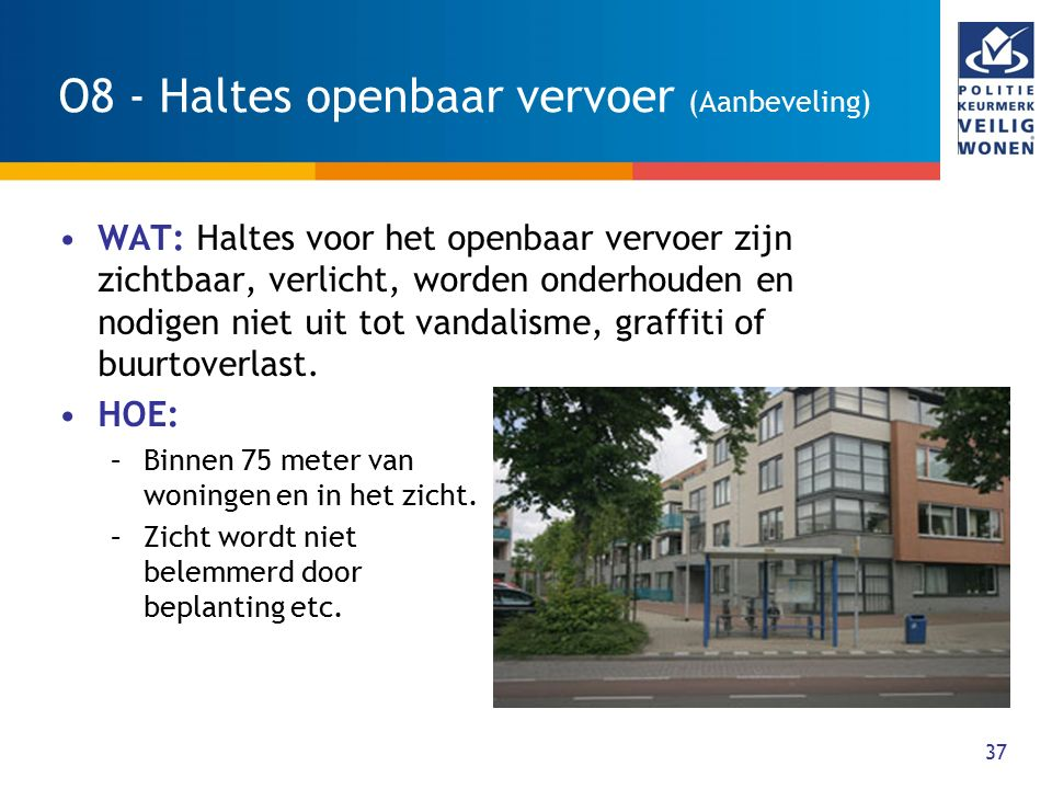O8 - Haltes openbaar vervoer (Aanbeveling)