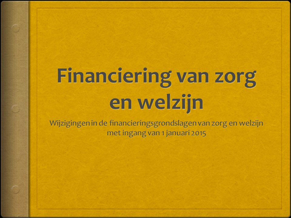 Financiering van zorg en welzijn