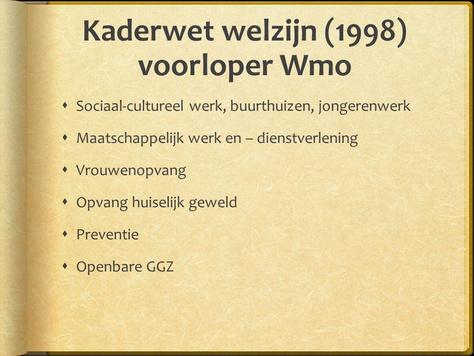 Kaderwet welzijn (1998) voorloper Wmo