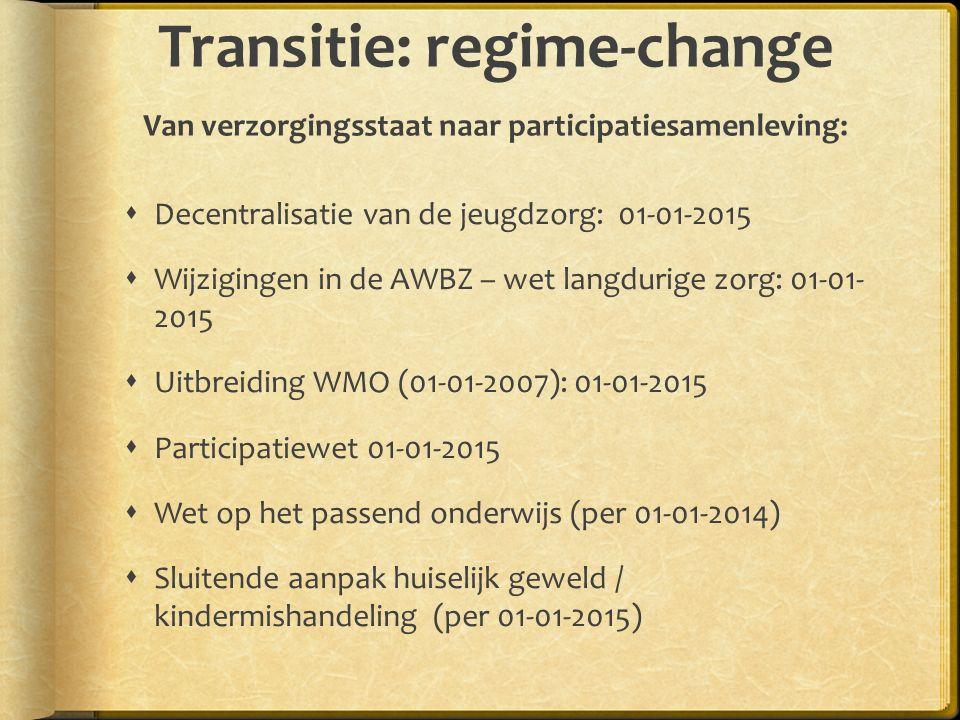 Transitie: regime-change Van verzorgingsstaat naar participatiesamenleving: