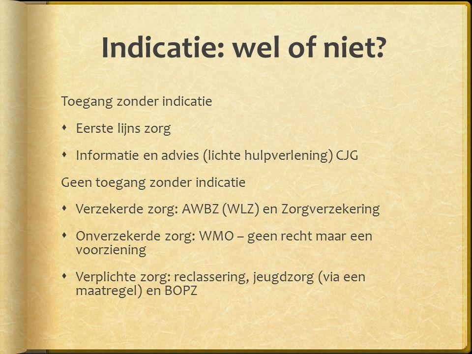 Indicatie: wel of niet Toegang zonder indicatie Eerste lijns zorg