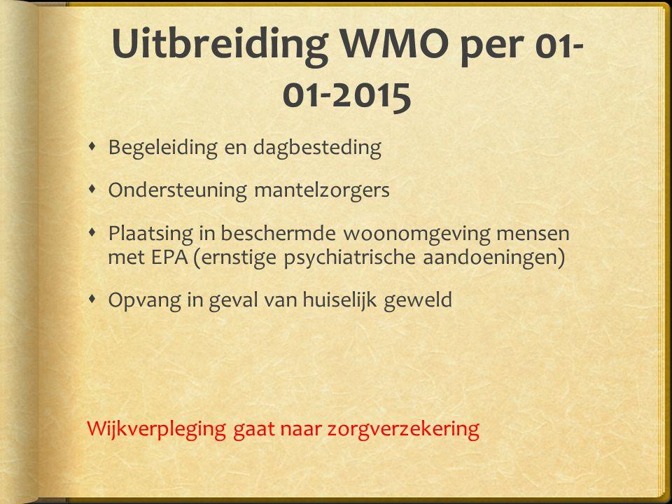 Uitbreiding WMO per 01-01-2015 Begeleiding en dagbesteding