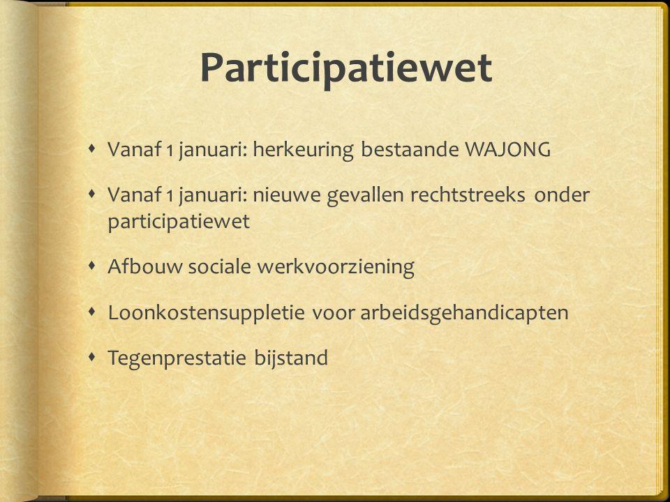 Participatiewet Vanaf 1 januari: herkeuring bestaande WAJONG