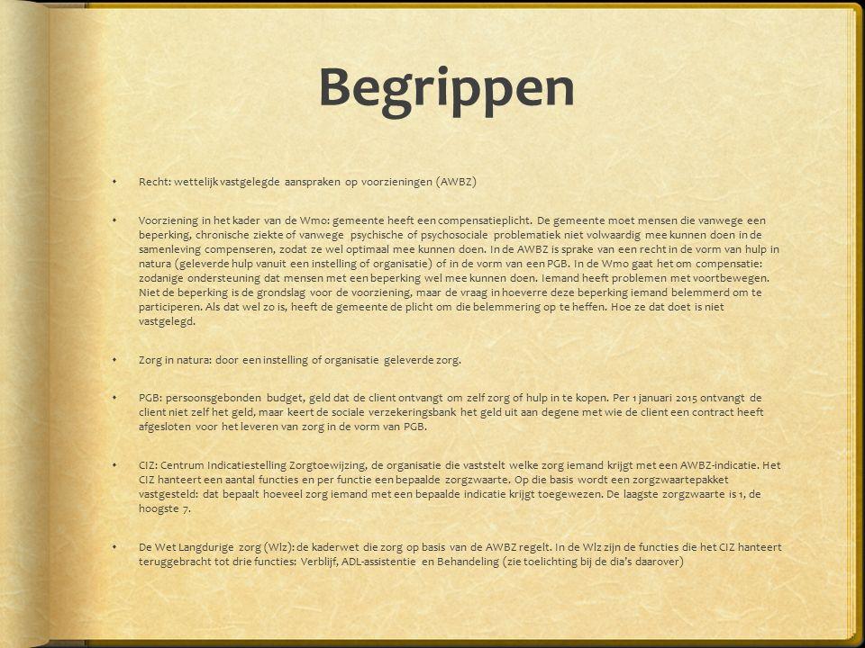 Begrippen Recht: wettelijk vastgelegde aanspraken op voorzieningen (AWBZ)