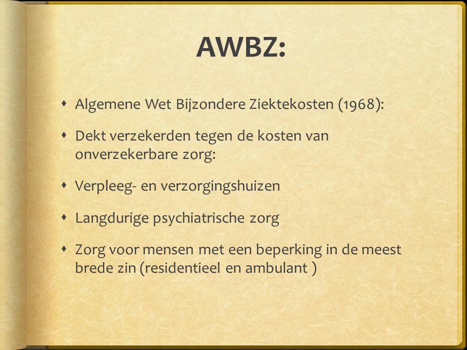 AWBZ: Algemene Wet Bijzondere Ziektekosten (1968):