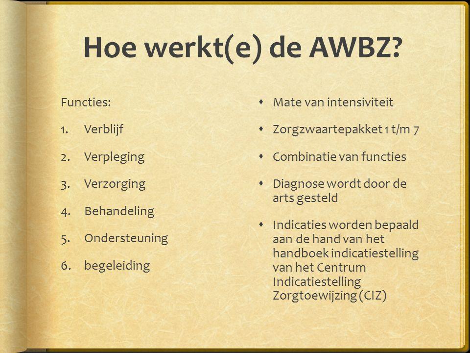 Hoe werkt(e) de AWBZ Functies: Verblijf Verpleging Verzorging