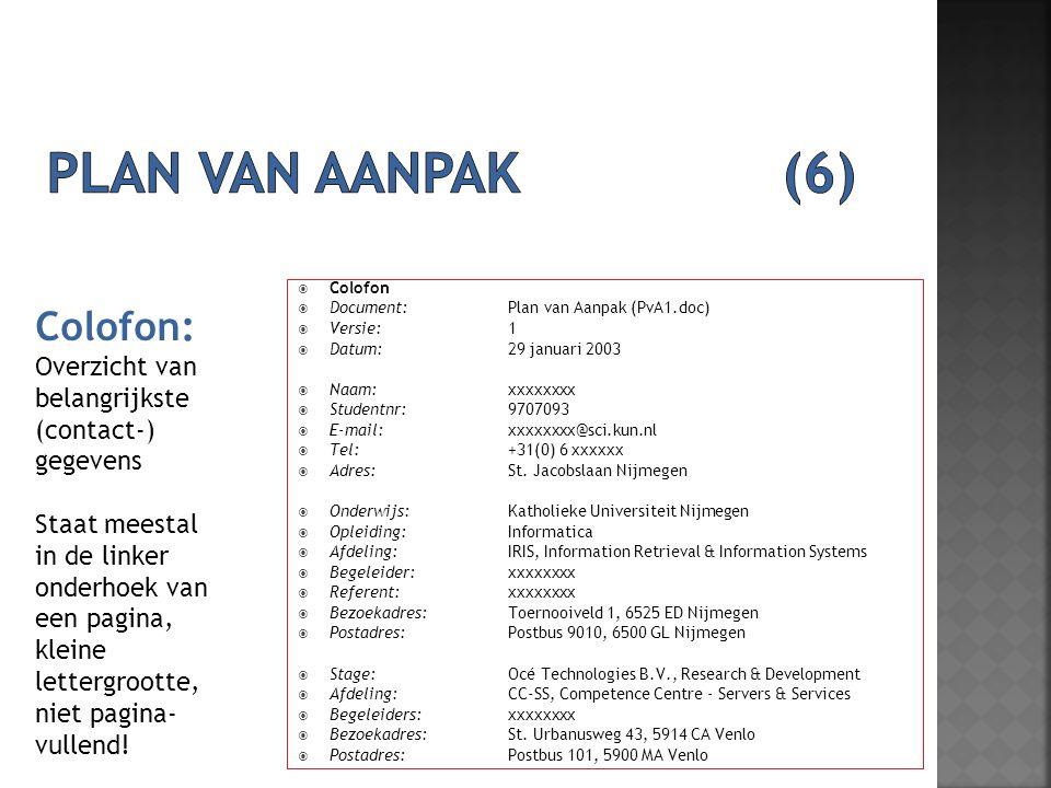 Plan van aanpak (6) Colofon: