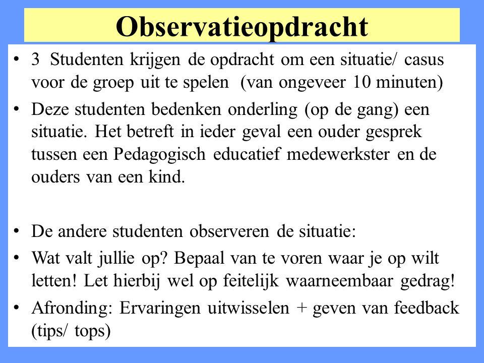 Observatieopdracht 3 Studenten krijgen de opdracht om een situatie/ casus voor de groep uit te spelen (van ongeveer 10 minuten)