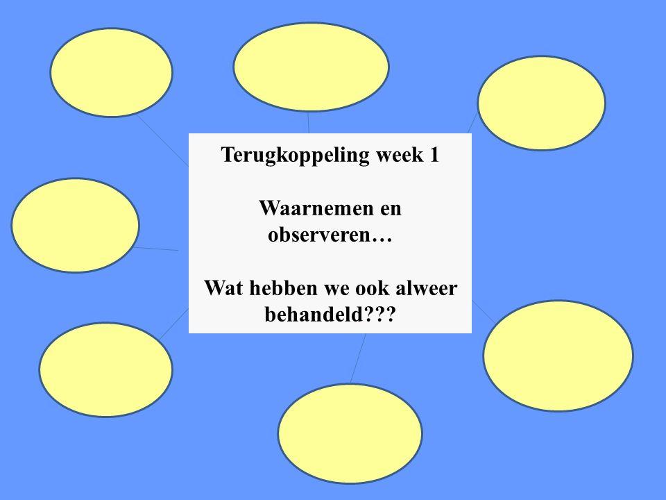 Terugkoppeling week 1 Waarnemen en observeren… Wat hebben we ook alweer behandeld