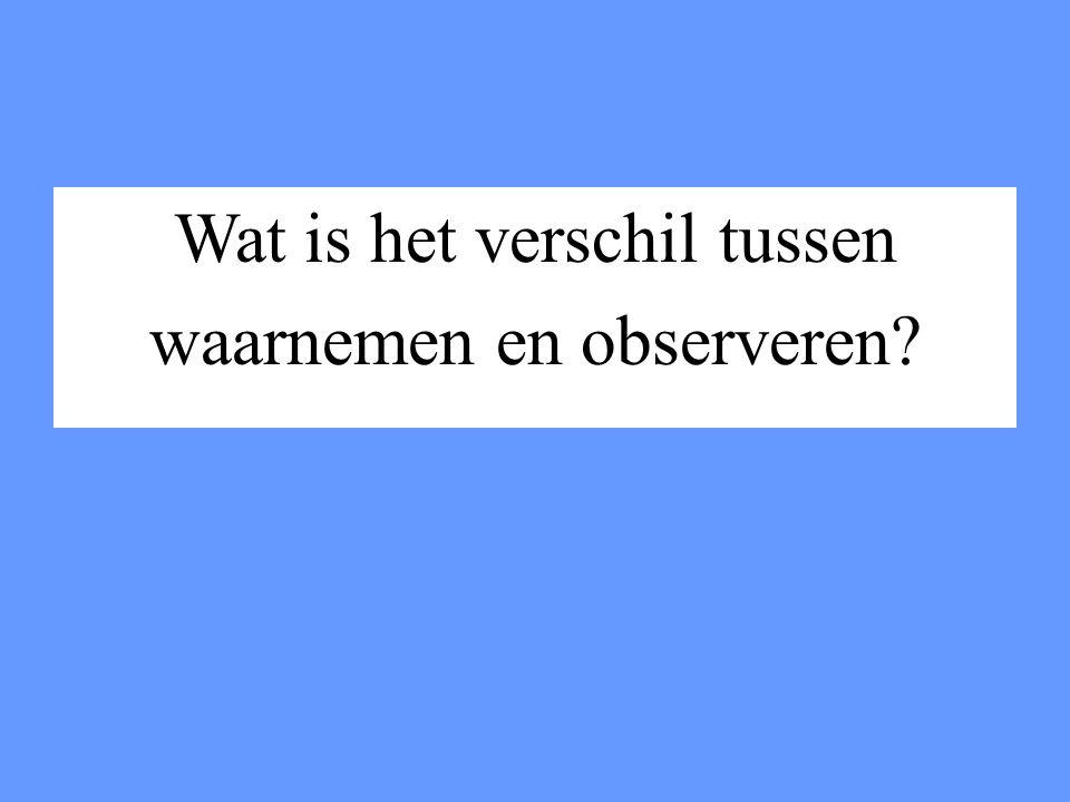Wat is het verschil tussen waarnemen en observeren