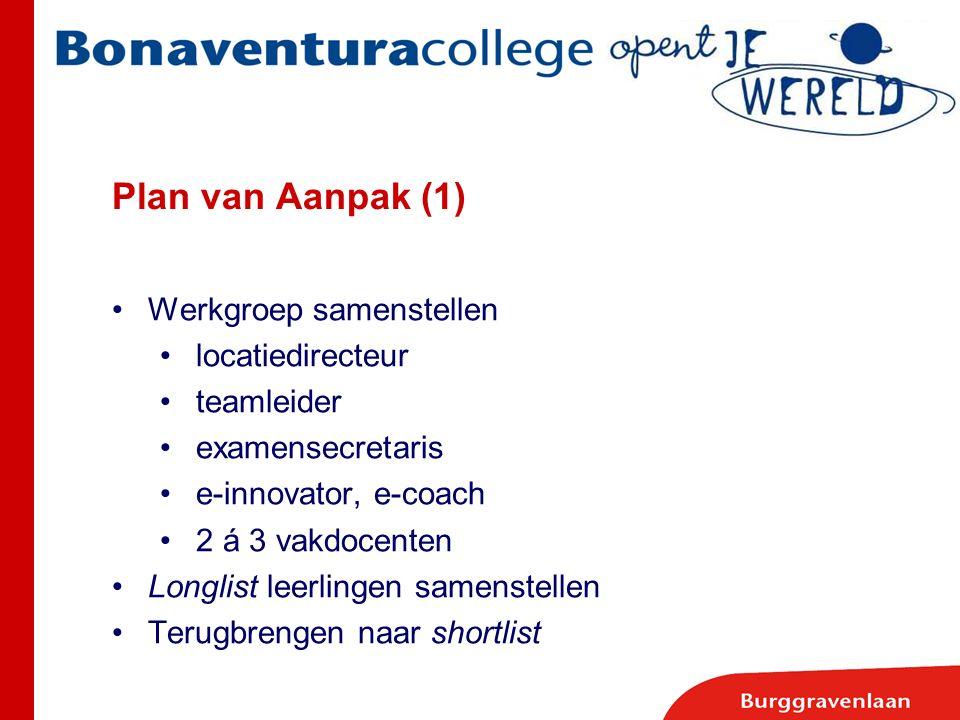 Plan van Aanpak (1) Werkgroep samenstellen locatiedirecteur teamleider