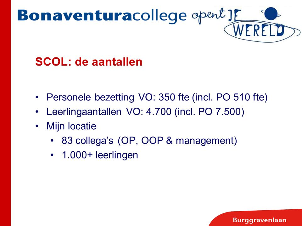 SCOL: de aantallen Personele bezetting VO: 350 fte (incl. PO 510 fte)
