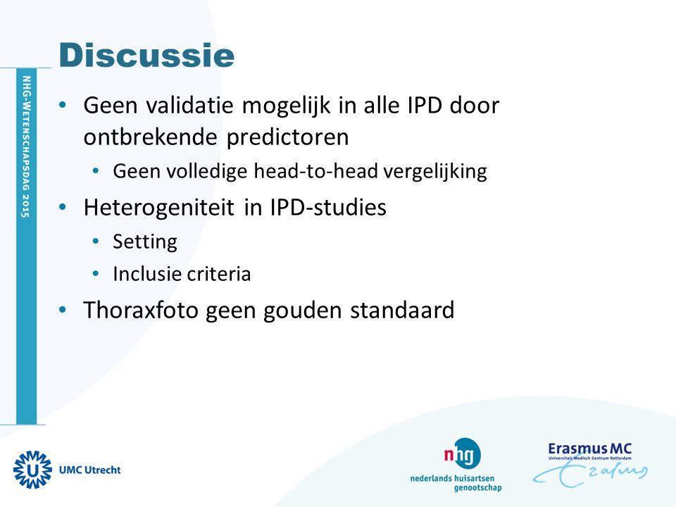Discussie Geen validatie mogelijk in alle IPD door ontbrekende predictoren. Geen volledige head-to-head vergelijking.