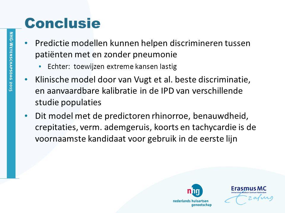 Conclusie Predictie modellen kunnen helpen discrimineren tussen patiënten met en zonder pneumonie. Echter: toewijzen extreme kansen lastig.