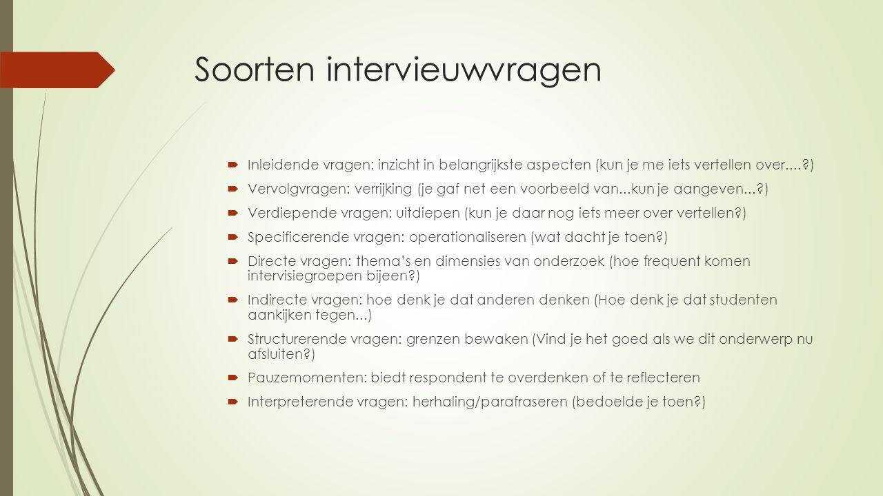 Soorten intervieuwvragen