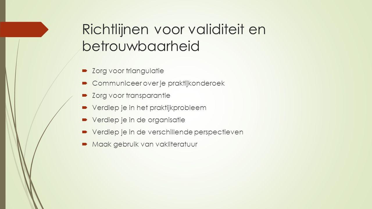 Richtlijnen voor validiteit en betrouwbaarheid