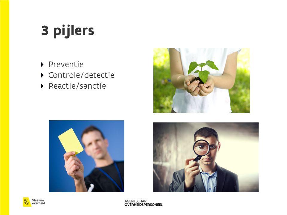 3 pijlers Preventie Controle/detectie Reactie/sanctie