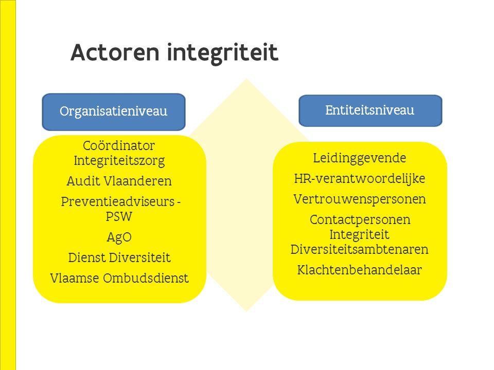 Actoren integriteit Organisatieniveau Entiteitsniveau