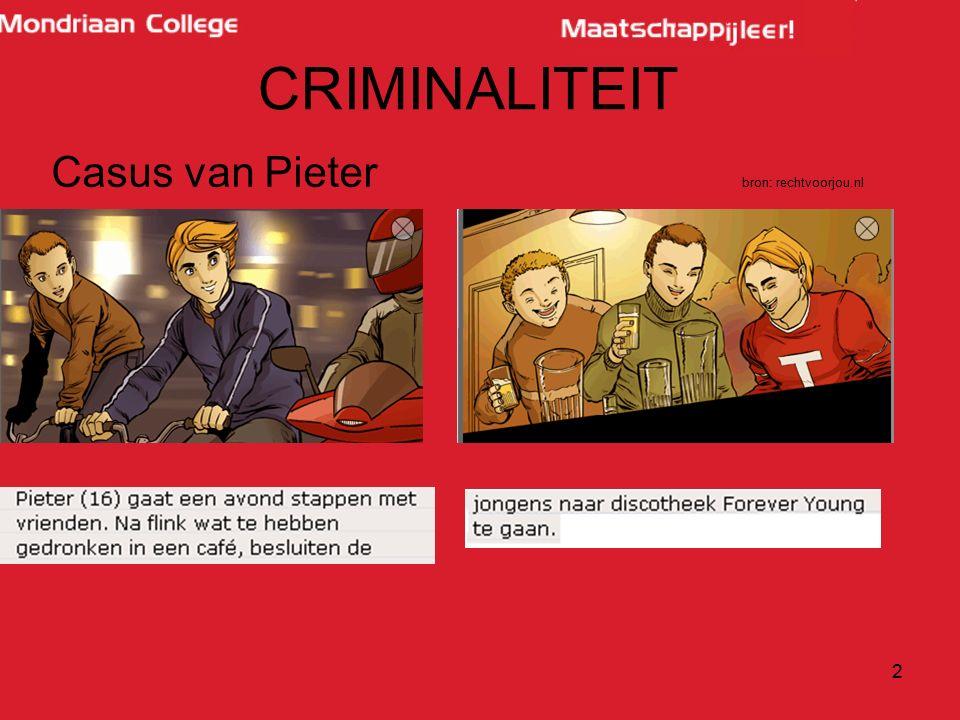 CRIMINALITEIT Casus van Pieter bron: rechtvoorjou.nl