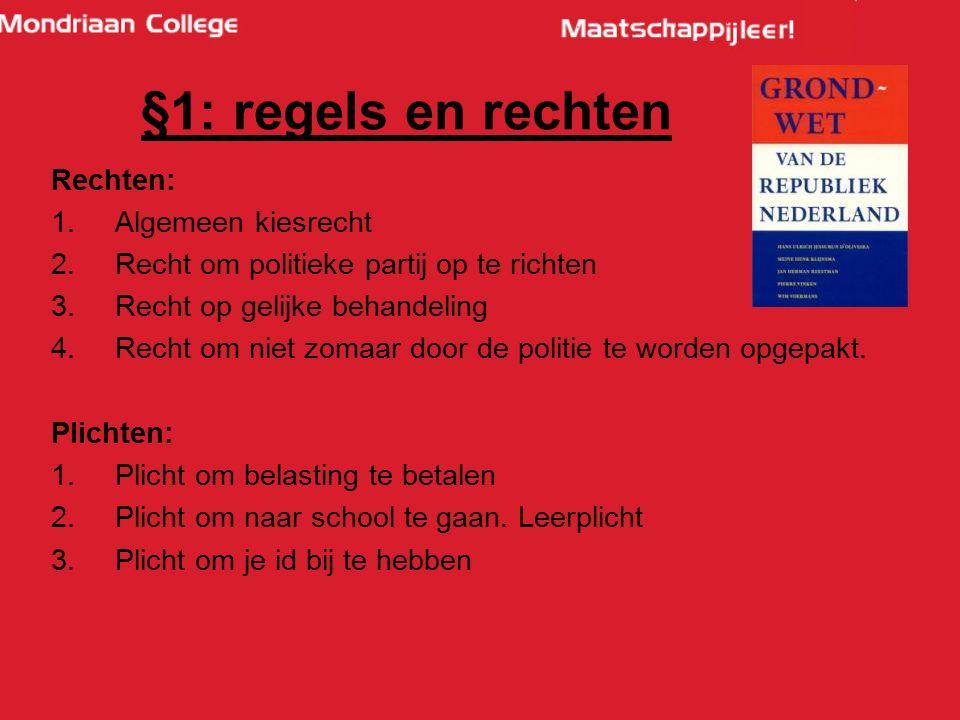 §1: regels en rechten Rechten: Algemeen kiesrecht
