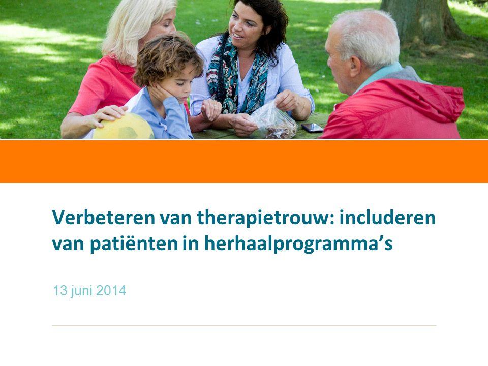 Verbeteren van therapietrouw: includeren van patiënten in herhaalprogramma's