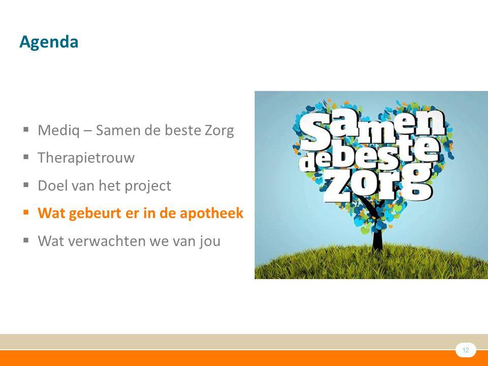 Agenda Mediq – Samen de beste Zorg Therapietrouw Doel van het project